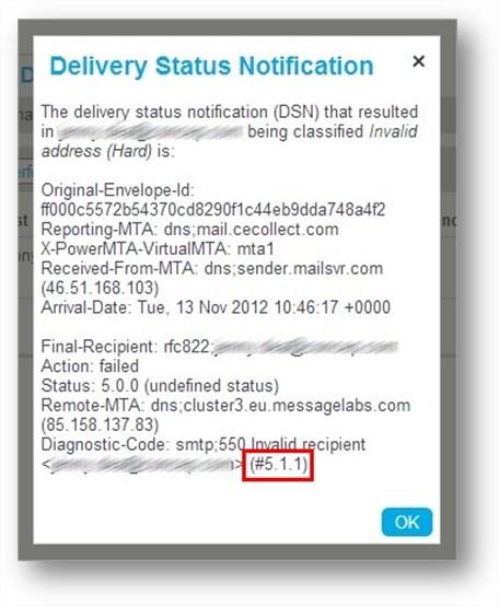 SMTP code bounceback