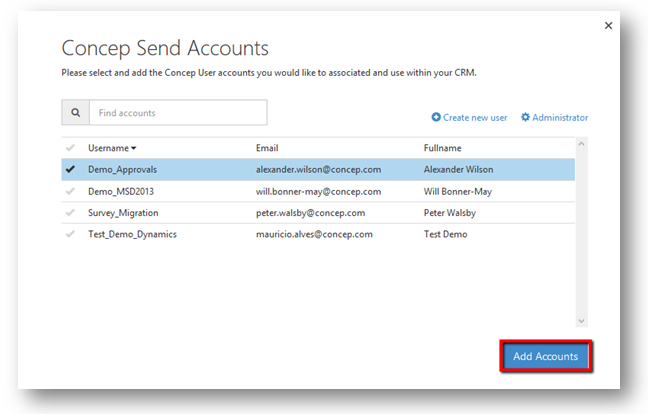 How to create New Send Accounts in Microsoft Dynamics CRM