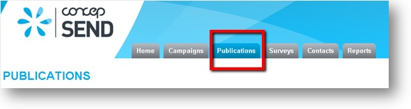 Publications tab on home page